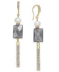 Paul & Pitü Naturally Two-Tone Freshwater Pearl (5 x 7mm) & Stone Linear Drop Earrings