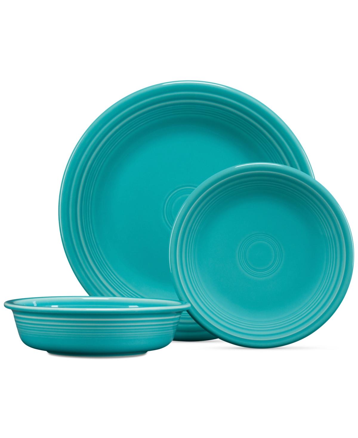 turquoise 3 pc dinner set