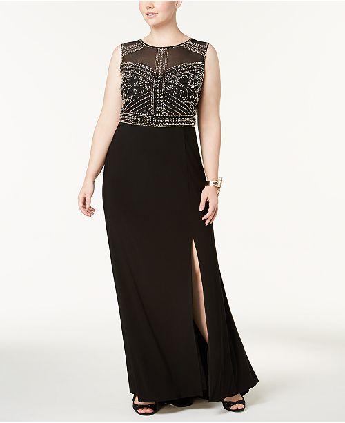 Morgan Company Trendy Plus Size Beaded Gown Dresses Plus Sizes
