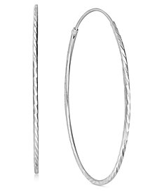 Giani Bernini Thin Textured Endless Hoop Earrings in Sterling Silver, Created for Macy's