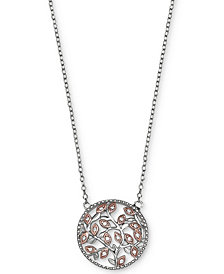 Giani Bernini Cubic Zirconia Vine Pendant Necklace in Sterling Silver and 18k Rose Gold-Plate, Created for Macy's