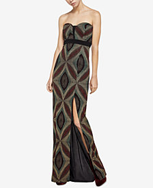 BCBGeneration Metallic-Knit Sweetheart Maxi Dress