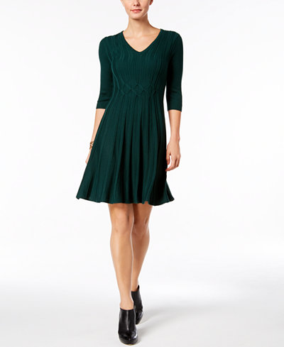 Connected Ribbed-Knit Fit & Flare Sweater Dress