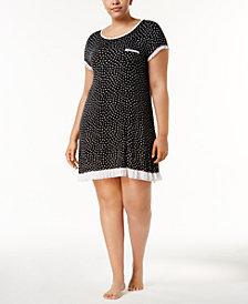 Layla Plus Size Ruffled-Mesh-Trim Sleepshirt