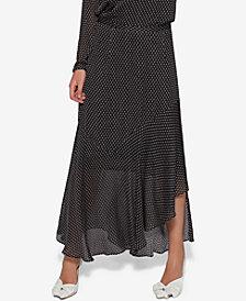 Avec Les Filles Clip-Dot Ruffled Maxi Skirt