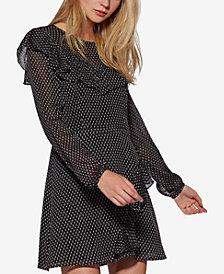 Avec Les Filles Clip-Dot Ruffle Fit & Flare Mini Dress
