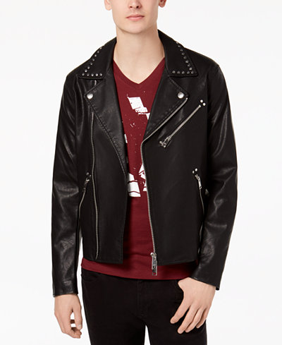Armani Exchange Men's Mixed-Media Studded Moto Jacket
