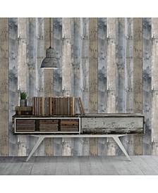 Textured Repurposed Wood Self-Adhesive Wallpaper, 56 Sq.Ft