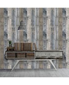 Tempaper Textured Repurposed Wood Self-Adhesive Wallpaper, 28 Sq.Ft