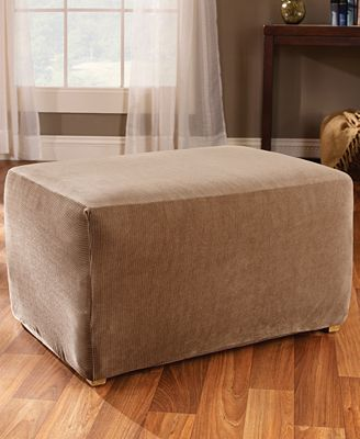 Sure fit stretch stripe ottoman slipcover slipcovers for Sure fit stretch slipcovers clearance