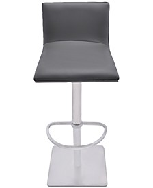 Crystal Adjustable Swivel Barstool in Gray Faux Leather with Brushed Stainless Steel Finish and Gray Walnut Veneer Back