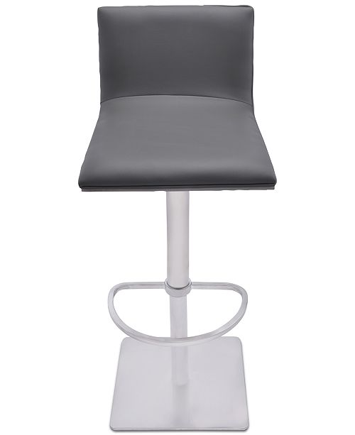 Magnificent Crystal Adjustable Swivel Barstool In Gray Faux Leather With Brushed Stainless Steel Finish And Gray Walnut Veneer Back Theyellowbook Wood Chair Design Ideas Theyellowbookinfo