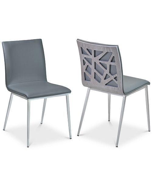 Armen Living Crystal Dining Chair in Gray Faux Leather with Brushed Stainless Steel Finish and Gray Walnut Veneer Back - Set of 2