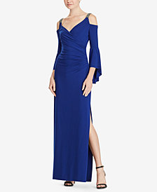 Lauren Ralph Lauren Beaded-Strap Cold-Shoulder Gown
