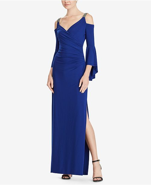 Wedding Principal Sponsors Gown: Lauren Ralph Lauren Beaded-Strap Cold-Shoulder Gown
