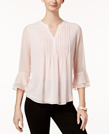 Charter Club Petite Double Ruffle Solid Pintuck Top, Created for Macy's