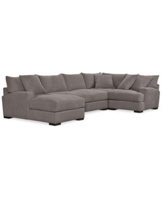 Rhyder 4-Pc. 80u0027u0027 Fabric Sectional with Chaise Created for Macyu0027s  sc 1 st  Macyu0027s : sectional macys - Sectionals, Sofas & Couches