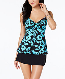Miraclesuit Bella Rosa Roswell Printed Underwire Tankini Top & Swim Skirt