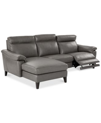 CLOSEOUT! Pirello 3-Pc. Leather Sectional Sofa With Chaise, 1 Power Recliner with Power Headrest and USB Port, Created for Macy's