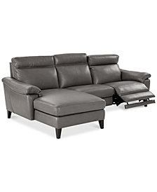 Pirello II 3-Pc. Leather Sectional Sofa With Chaise, 1 Power Recliner with Power Headrest and USB Port, Created for Macy's