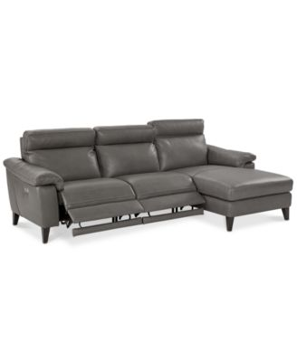 Image 2 Of CLOSEOUT! Pirello 3 Pc. Leather Sectional Sofa With Chaise,