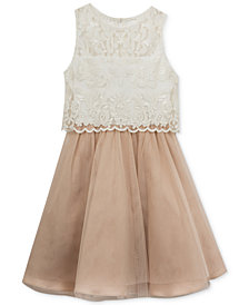 Rare Editions Lace Popover Dress, Big Girls Plus