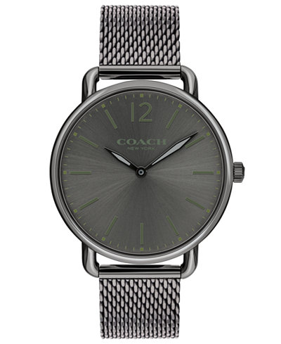 COACH Men's Delancey Slim Gray Stainless Steel Mesh Bracelet Watch 40mm