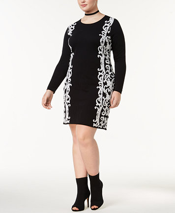 INC International Concepts Plus Size Jacquard Sweater Dress, Created for  Macy\'s