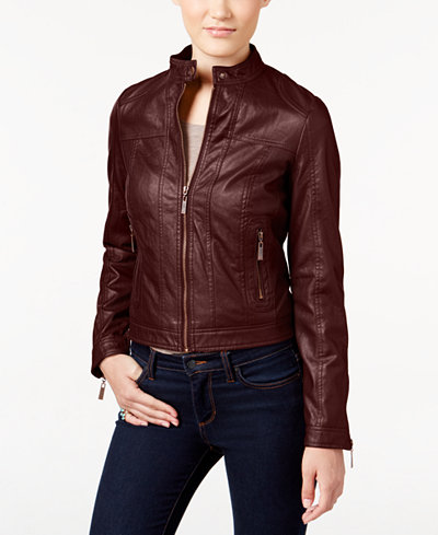 Jou Jou Juniors' Faux-Leather Bomber Jacket - Coats - Women - Macy's
