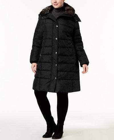 London Fog Plus Size Faux-Fur-Collar Down Coat - Coats - Women ...