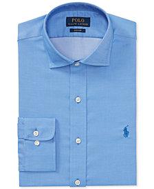 Polo Ralph Lauren Men's Classic/Regular Fit Easy-Care Blue/White Pattern Dobby Dress Shirt