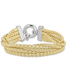 Italian Gold Multi-Strand Chain Bracelet in 14k Gold-Plated Sterling Silver
