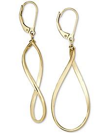 Polished Oval Drop Earrings in 14k Gold