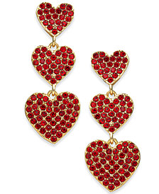 kate spade new york Rose Gold-Tone Pavé Heart Triple-Drop Earrings