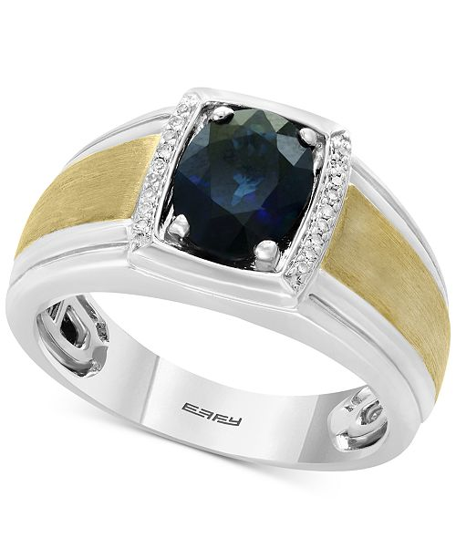 EFFY® Men's Sapphire (1-7/8) & Diamond Accent Ring in Sterling Silver and 14k Gold