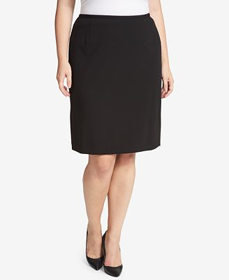 Calvin Klein Plus Size Crepe Pencil Skirt
