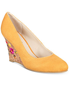 Rialto Calypso Embroidered Wedge Pumps