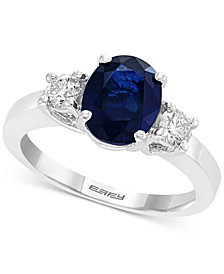 Gemstone Bridal by EFFY® Sapphire (1-9/10 ct. t.w.) & Diamond (3/8 ct. t.w.) Engagement Ring in 18k White Gold