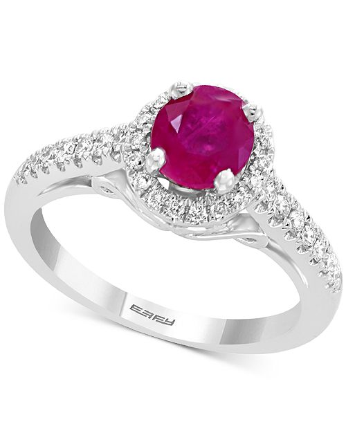 EFFY Collection Gemstone Bridal by EFFY® Ruby (1 ct. t.w.) & Diamond (1/4 ct. t.w.) Ring in 18k White Gold