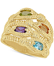 Multi-Gemstone Rope Statement Ring (1 ct. t.w.) in 14k Gold-Plated Sterling Silver