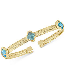 Swiss Blue Topaz Woven Cuff Bracelet (4-1/5 ct. t.w.) in 14k Gold-Plated Sterling Silver