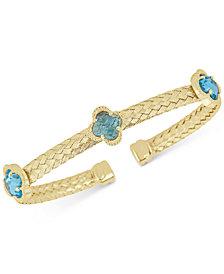 Swiss Blue Topaz Woven Cuff Bracelet (4-1/5 ct. t.w.) in 14k Gold-Plated Sterling Silver