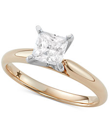 Macy's Star Signature Diamond™ Princess Cut Solitaire Engagement Ring (1 ct. t.w.) in 14k Gold or White Gold