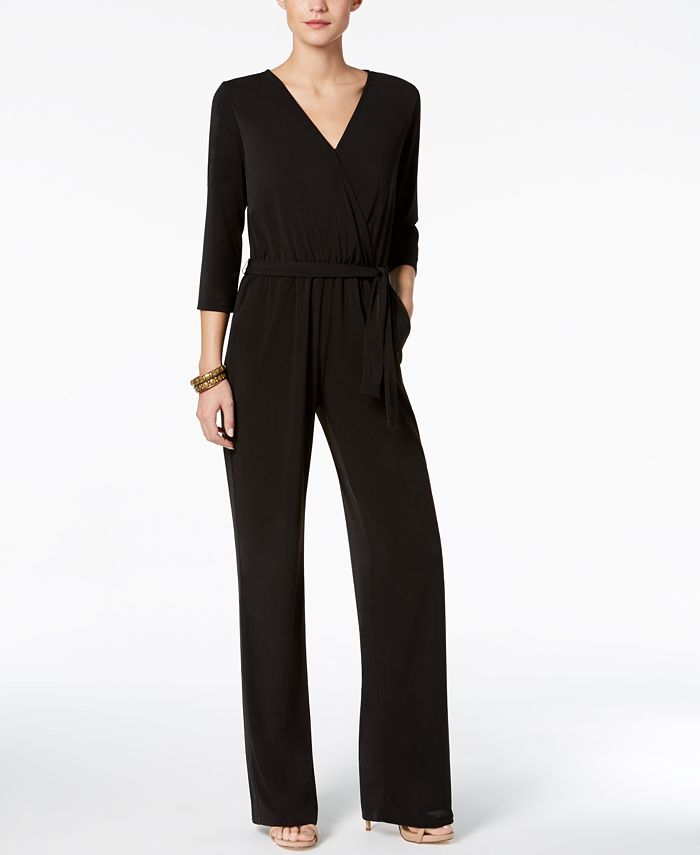 NY Collection - Petite Belted Jumpsuit