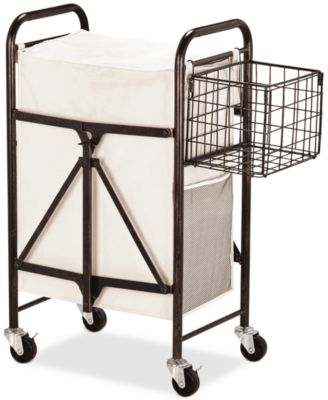 Gourmet Basics By Collapsible Laundry Cart With Side Storage Basket