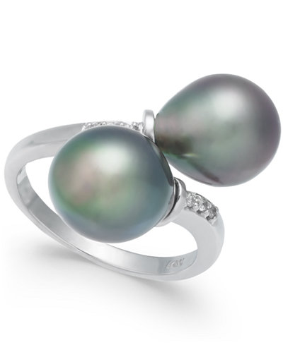 Cultured Tahitian Pearl (9mm) and Diamond Accent Bypass Ring in 14k White Gold