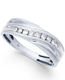 Men's Diamond Swirl Band (1/4 ct. t.w.) in 10k White Gold