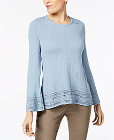Style & Co Petite Crochet-Trim Sweater, Created for Macy's