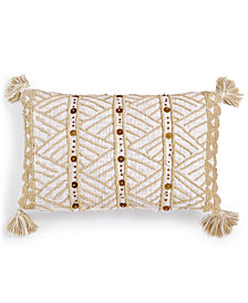 "LAST ACT! Lacourte Alama Tufted-Chenille Sequin 14"" x 24"" Decorative Pillow, Created for Macy's"