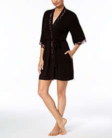 Thalia Sodi Kimono Knit Lace-Trim Wrap, Created for Macy's